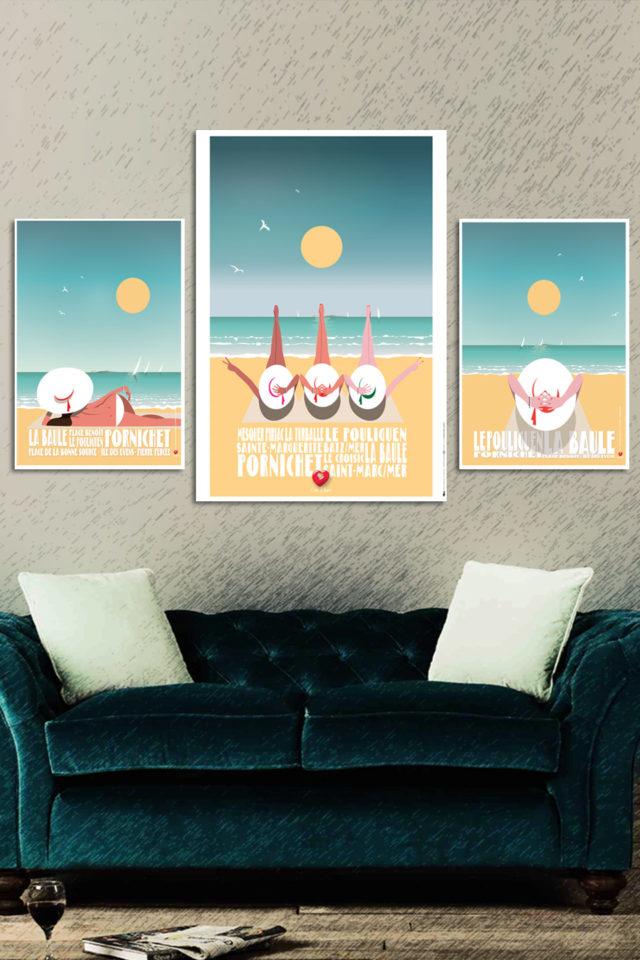 X3 Affiches triptyque SÉRIE BAULOISES + 1 Offerte
