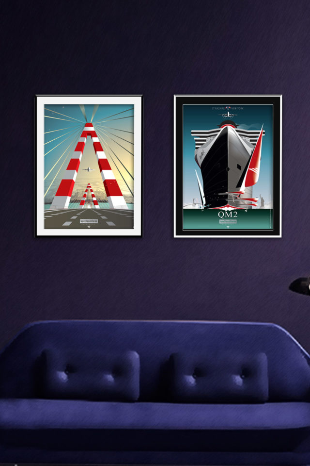 Affiches diptyque QUEEN MARY & PONT SAINT-NAZAIRE