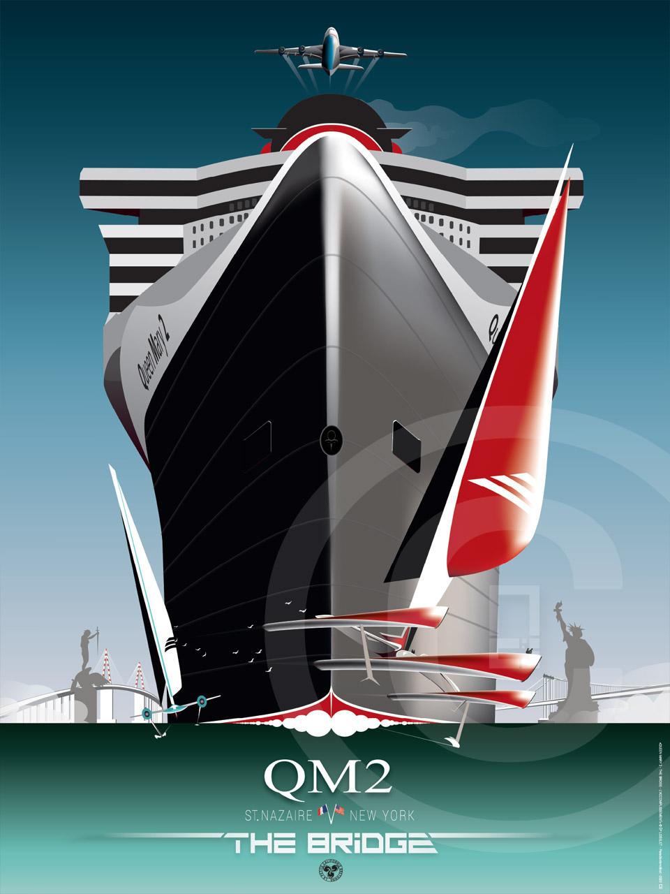 Affiche Queen Mary 2 Paquebots Saint-Nazaire The Bridge
