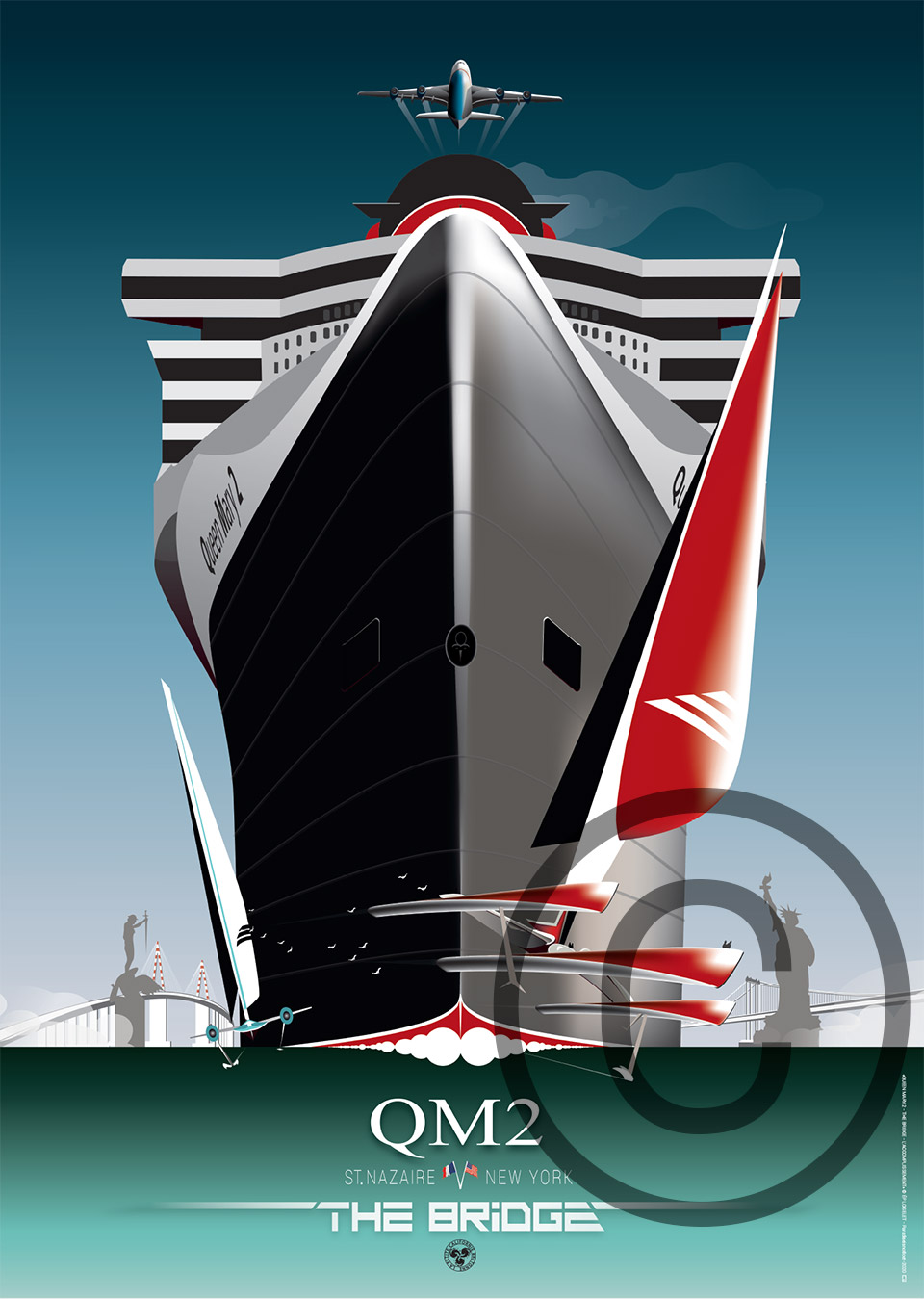 Affiche Queen Mary 2 Saint-Nazaire New York The Bridge