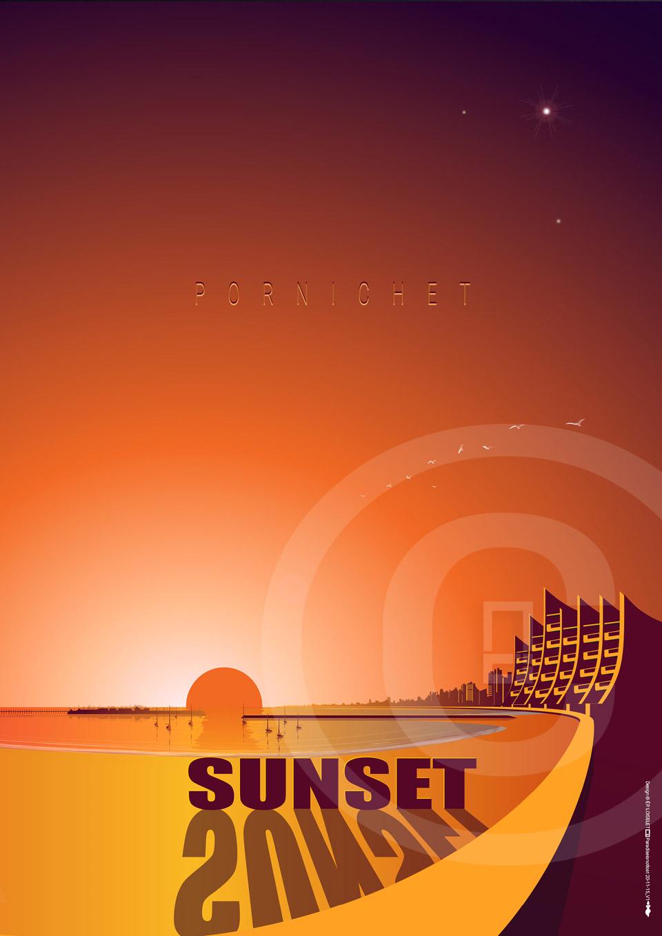 Affiche Pornichet Sunset Collection CÔTE D'AMOUR