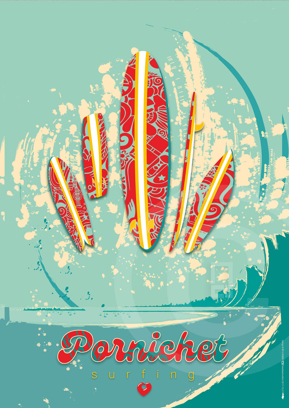 Affiche Pornichet Surfing Collection CÔTE D'AMOUR