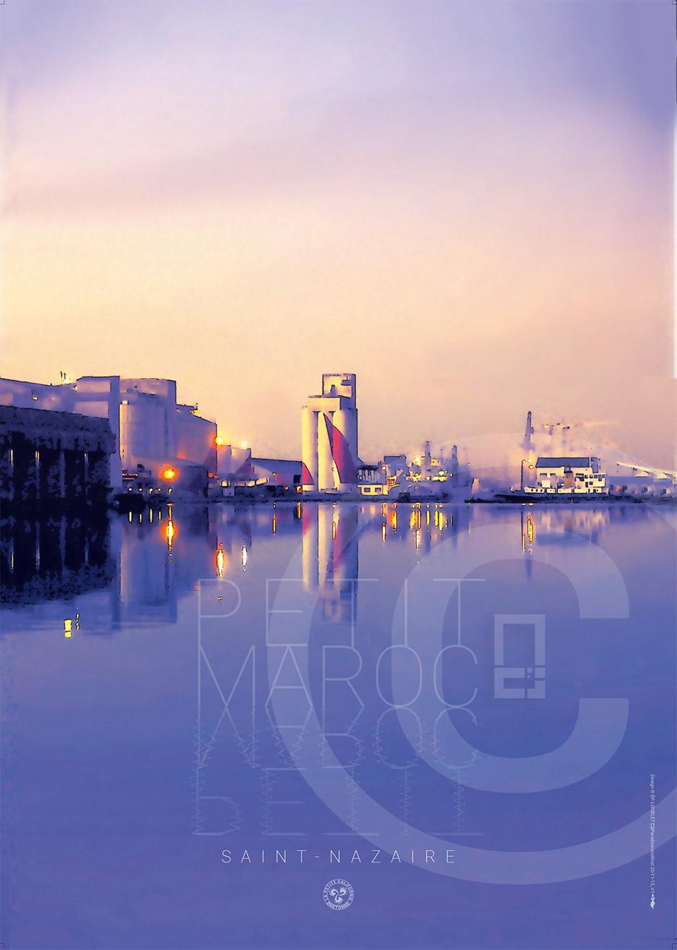 """Affiche """"Vue du petit maroc"""" Port de Saint-Nazaire"""