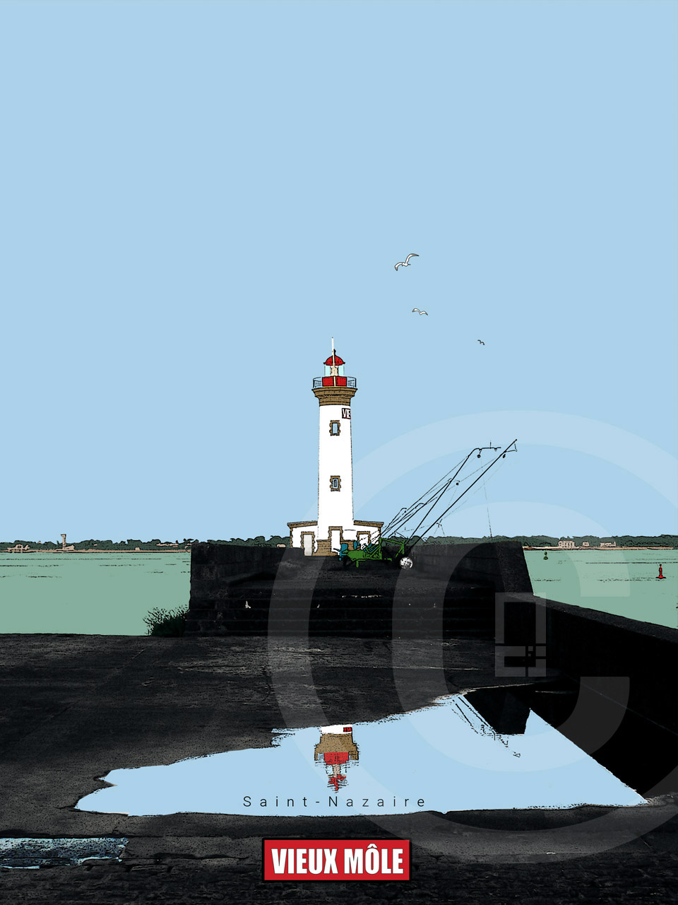 Affiche graphiquement Vieux Môle - Port de Saint-Nazaire